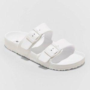 NWT Women's Neida EVA Two Band Slide Sandals White